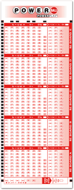 PowerBall Play Slip Sample