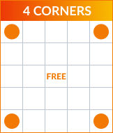 Bingo 4 corners pattern
